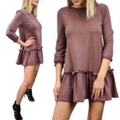 Sukienka 9054 LUŹNA FALBANKA CAPPUCCINO L/XL
