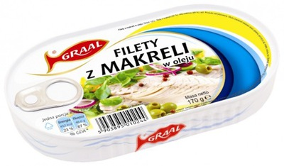 Филе скумбрии в масле 170г Грааль 3 штук