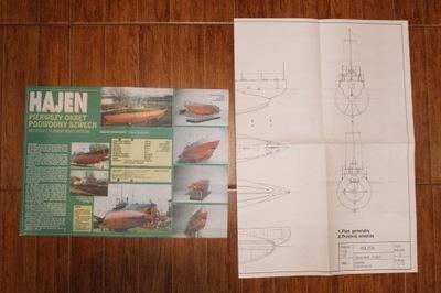 Okręt podwodny Hajen Plany modelarskie Stan BDB