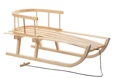 Sanki Drewniane dla dzieci z oparciem Tradycyjne