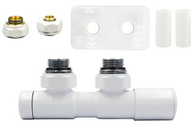 Regulačný ventil Dvojčatá 50 mm biele + konektory PEX + ružica vpravo