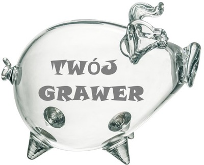 Skarbonka ŚWINKA szklana GRAWER GRATIS okazja