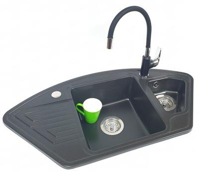 SADA rohové žulové umývadlo + FLEXIBILNÁ BATÉRIA