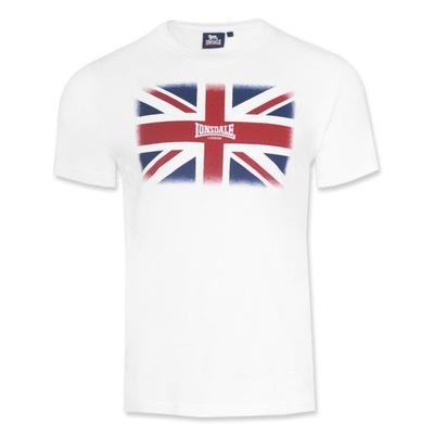 Koszulka T-shirt LONSDALE Flaga 21157 BIAŁA L