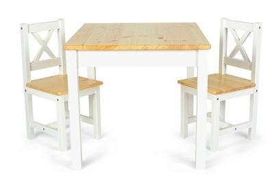 Drewniany stolik dziecięcy z dwoma krzesełkami POL