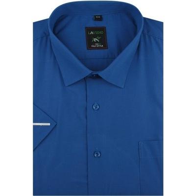 Koszula Męska gładka chabrowa Duże rozmiary K702