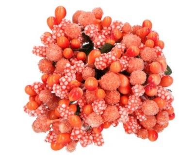 Kwiaty RYŻYK kaszka pręciki pączki 12szt pomarańcz