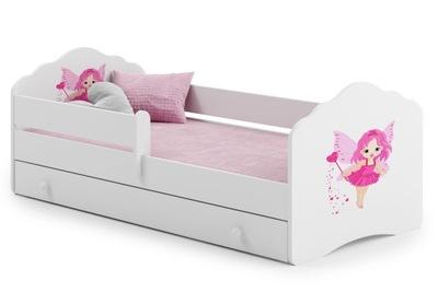 łóżko dziecięce 160x80 z grafiką +szuflada+materac