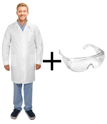 Komplet laboratoryjny męski fartuch+okulary r.M