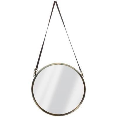 Okrúhle zrkadlo v kovovom LOFT ráme na remienku 42