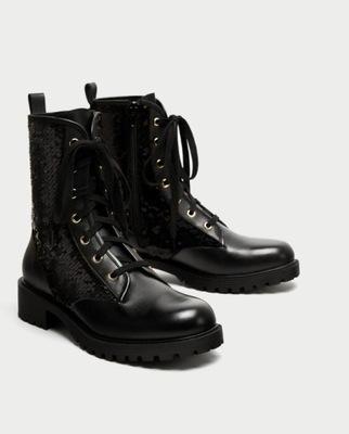 botki Zara CYRKONIE czarne 40 8482044948 oficjalne