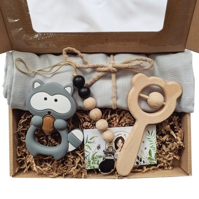 zestaw prezent noworodek niemowle szop gryzak las