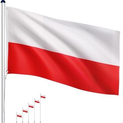 MASZT FLAGOWY 6,5 M ALU MASZT DO FLAGI + FLAGA PL