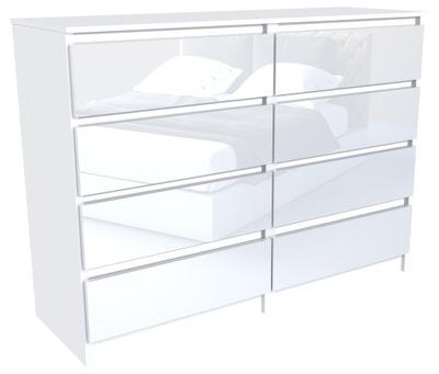 Комод 120см 8 выдвижных ящиков шкаф Белый ВЫСОКИЙ блеск