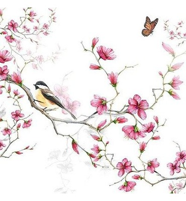 Салфетка 33х33см - птичка на ветке яблони