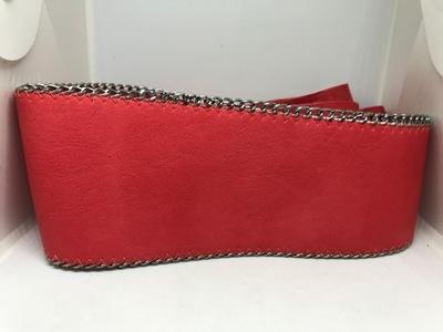 PASEK DAMSKI czerwony wiązany 8 cm do sukienki.