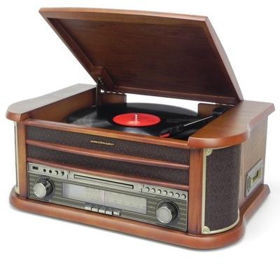 Gramofon RETRO Hi-Fi CD Mp3 USB DREWNO VINYL PILOT