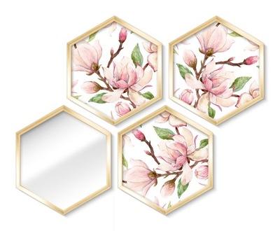 комплект 4 ИЗОБРАЖЕНИЯ Серия АФИША зеркало золото цветы