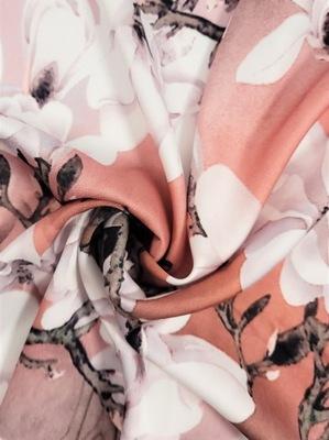 Tkanina Satyna armani imitacja jedwab wzór kwiat