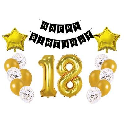 Balony 18 urodziny złoty 17el 1m confetti napis
