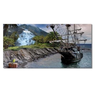 Obraz na szkle do salonu Piraci wyspa skarb 120x60