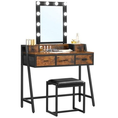 Toaletka z lustrem i stołkiem Rustykalna Loft LED