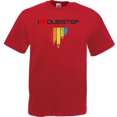 Koszulka z nadrukiem dubstep dub XXL ceglana czerw