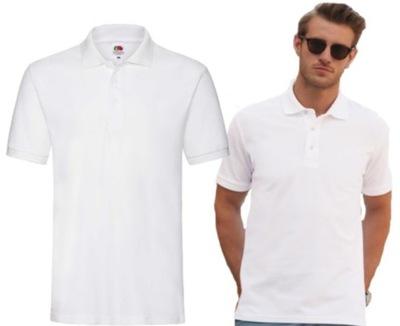 Bawełniana męska Koszulka Polo Fruit BIAŁA r M
