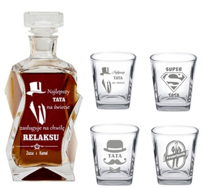 Karafka 4 szklanki z GRAWEREM Dzień Ojca Urodziny