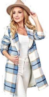 Wełniany płaszcz klasyczny wiosenny wełna KRATA M