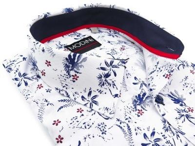 Biała koszula męska w kwiatki A48 176-182 / 45-REG
