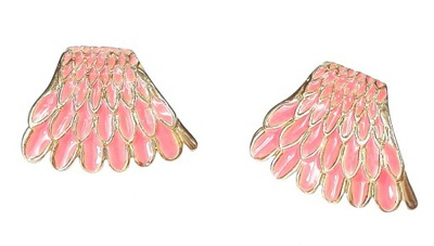 Kolczyki złote skrzydła piórka boho skrzydło pióro