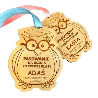 Medal na pasowanie dla ucznia grawer imię szkoła