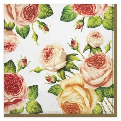 SERWETKI na URODZINY papierowe białe w róże 20szt