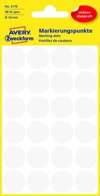 Etykiety AVERY 3170 kółka KROPKI 18mm / białe