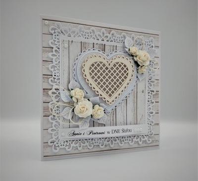 Kartka ręcznie robiona na ślub Pamiątka Ślubna