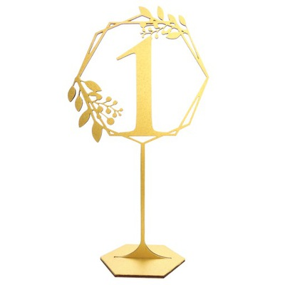 Numery na stół na nóżce hexagon ślub numery złote