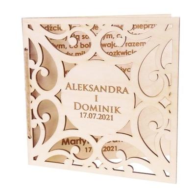Drewniana Kartka ślubna prezent na ślub wesele