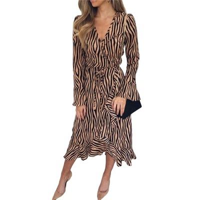 Zwiewna sukienka szyfonowa wzór tygrys 36 S
