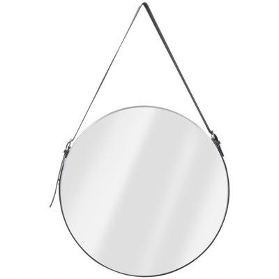 LOFT okrúhle zrkadlo na páse 51 cm ČIERNE nastaviteľné