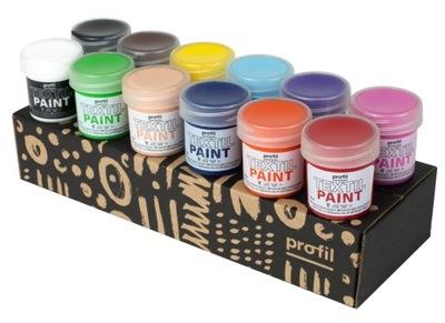 Farby do tkanin jasnych 12x25ml w zestawie