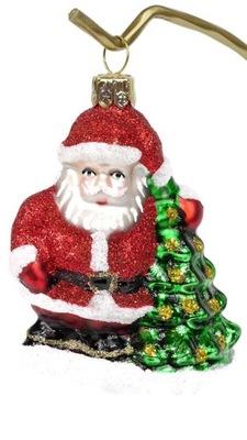 Bombka szklana ręcznie malowana Mikołaj z Choinką