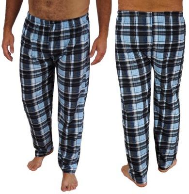 SPODNIE męskie XXL piżamowe KRATA długie COTTON n1