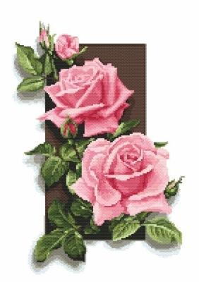 Kanwa z nadrukiem do haftu - Róże 3D