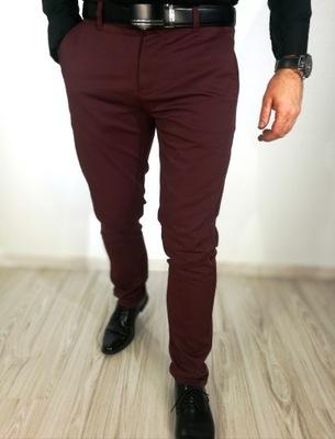 Męskie spodnie wizytowe gładkie bordowe 33