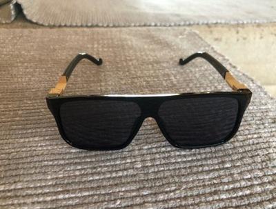 okulary Męskie Popek Czarne Złote Zdobione UV400 6789759437