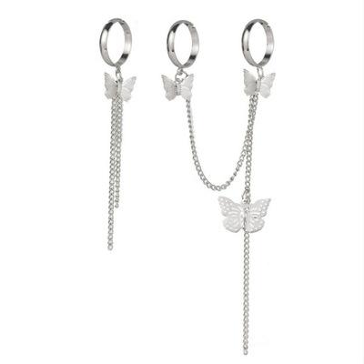 Zestaw 3 pierścionków-Łańcuszek motylkowy-srebrne