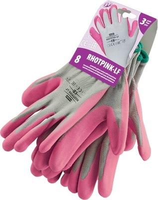 Rękawiczki ogrodowe powlekane RHOTPINK-LF r.8
