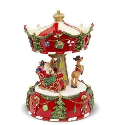 Karuzela pozytywka świąteczna Mikołaj sanie 17x10
