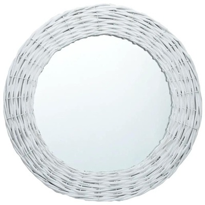 Okrúhle zrkadlo s prúteným rámom 80 cm